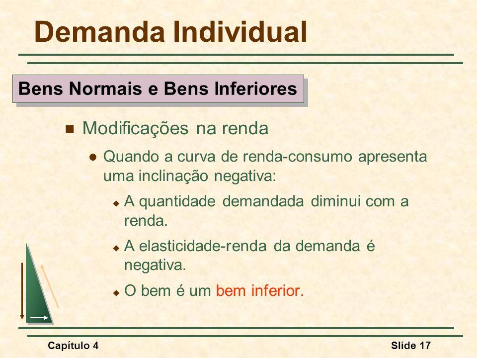 Capítulo 4Slide 17 Demanda Individual Modificações na renda Quando a curva de renda-consumo apresenta uma inclinação negativa: A quantidade demandada diminui com a renda.