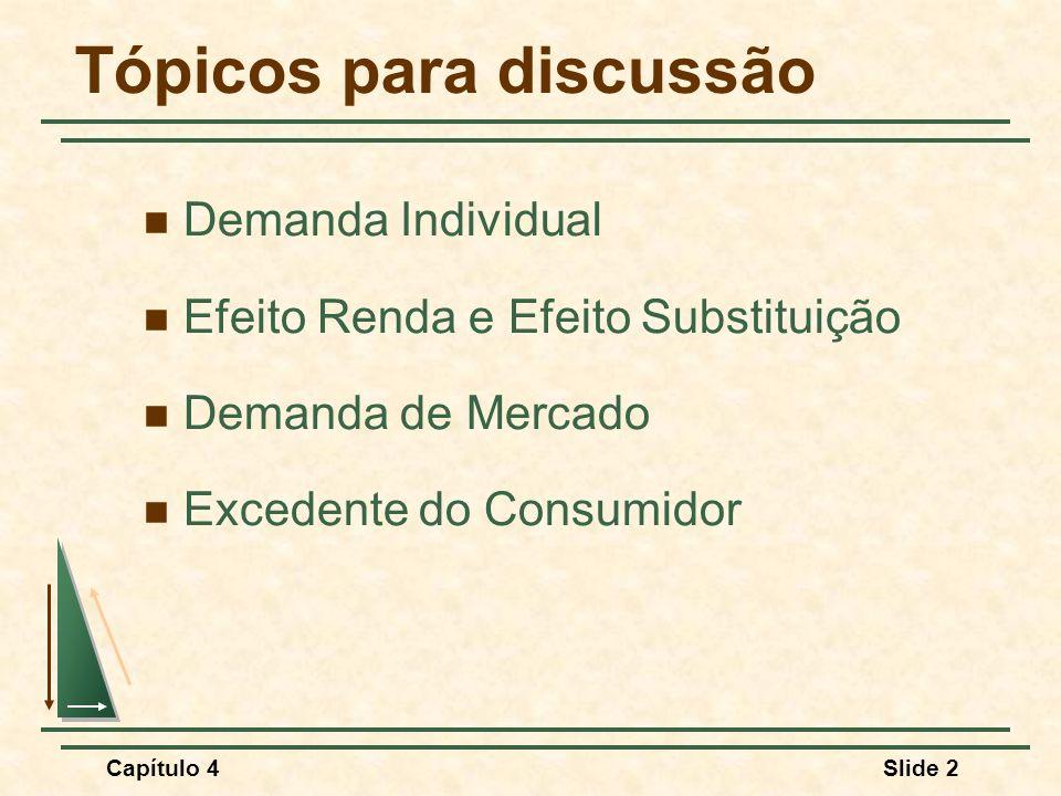 Capítulo 4Slide 23 Demanda Individual 1) Dois bens são considerados substitutos se um aumento (ou redução) no preço de um deles ocasiona um aumento (ou redução) na quantidade demandada do outro.