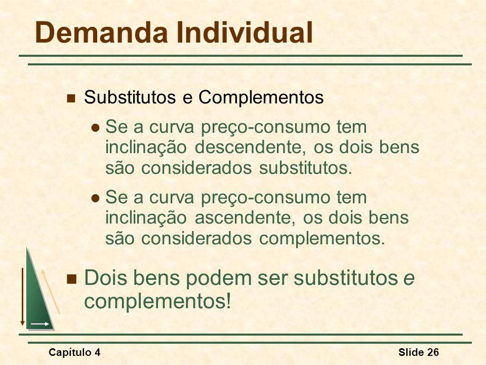 Capítulo 4Slide 26 Demanda Individual Substitutos e Complementos Se a curva preço-consumo tem inclinação descendente, os dois bens são considerados substitutos.