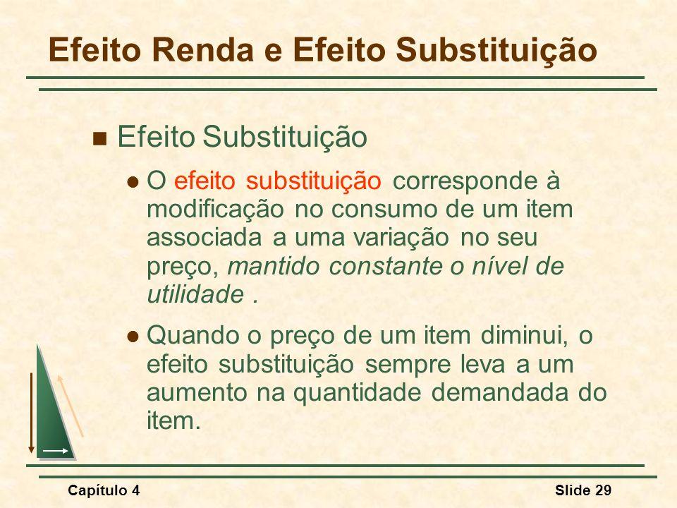Capítulo 4Slide 29 Efeito Renda e Efeito Substituição Efeito Substituição O efeito substituição corresponde à modificação no consumo de um item associada a uma variação no seu preço, mantido constante o nível de utilidade.