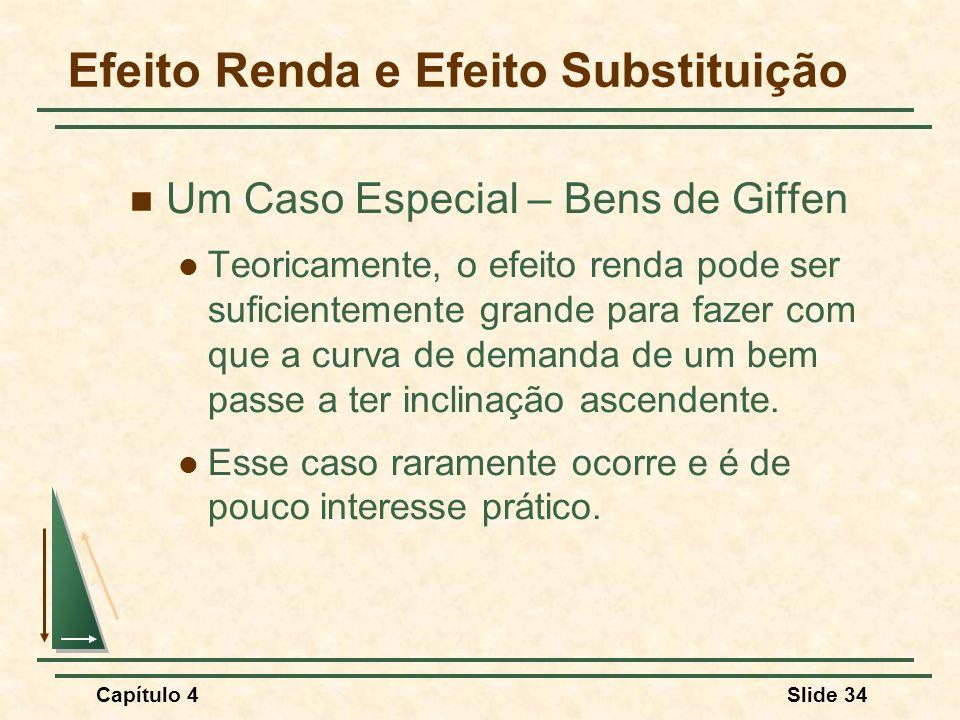 Capítulo 4Slide 34 Efeito Renda e Efeito Substituição Um Caso Especial – Bens de Giffen Teoricamente, o efeito renda pode ser suficientemente grande para fazer com que a curva de demanda de um bem passe a ter inclinação ascendente.