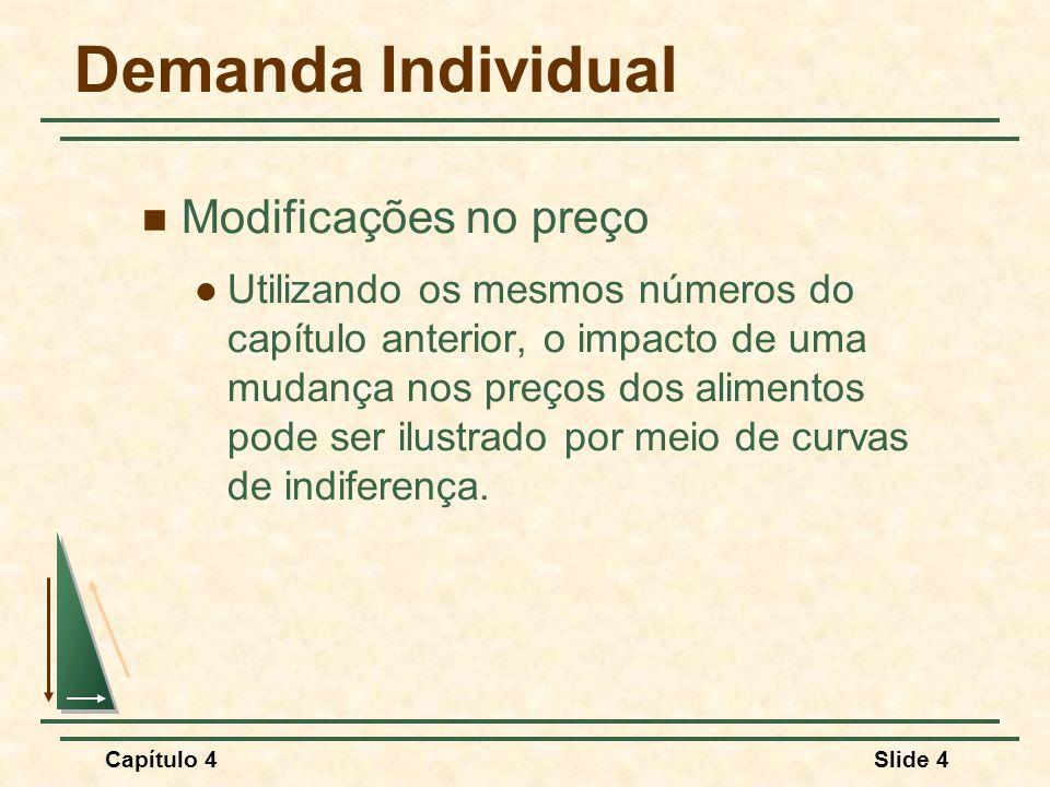 Capítulo 4Slide 5 Efeitos de variações nos preços Alimento (unidades por mês) Vestuário (unidades por mês) 4 5 6 U2U2 U3U3 A B D U1U1 41220 Três curvas de indiferença distintas são tangentes a cada linha de orçamento.