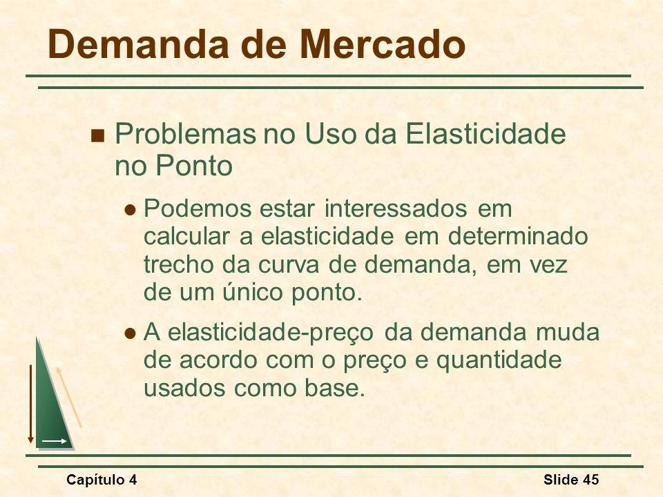Capítulo 4Slide 45 Demanda de Mercado Problemas no Uso da Elasticidade no Ponto Podemos estar interessados em calcular a elasticidade em determinado trecho da curva de demanda, em vez de um único ponto.