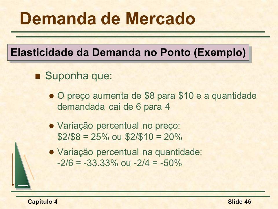 Capítulo 4Slide 46 Demanda de Mercado Suponha que: O preço aumenta de $8 para $10 e a quantidade demandada cai de 6 para 4 Variação percentual no preço: $2/$8 = 25% ou $2/$10 = 20% Variação percentual na quantidade: -2/6 = -33.33% ou -2/4 = -50% Elasticidade da Demanda no Ponto (Exemplo)