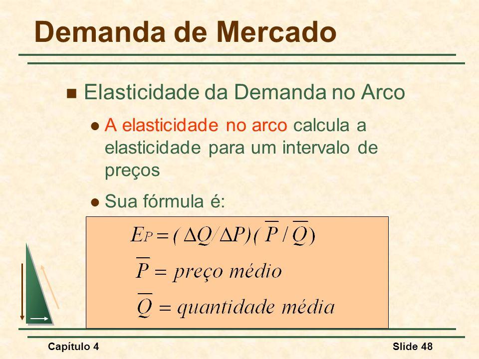 Capítulo 4Slide 48 Demanda de Mercado Elasticidade da Demanda no Arco A elasticidade no arco calcula a elasticidade para um intervalo de preços Sua fó