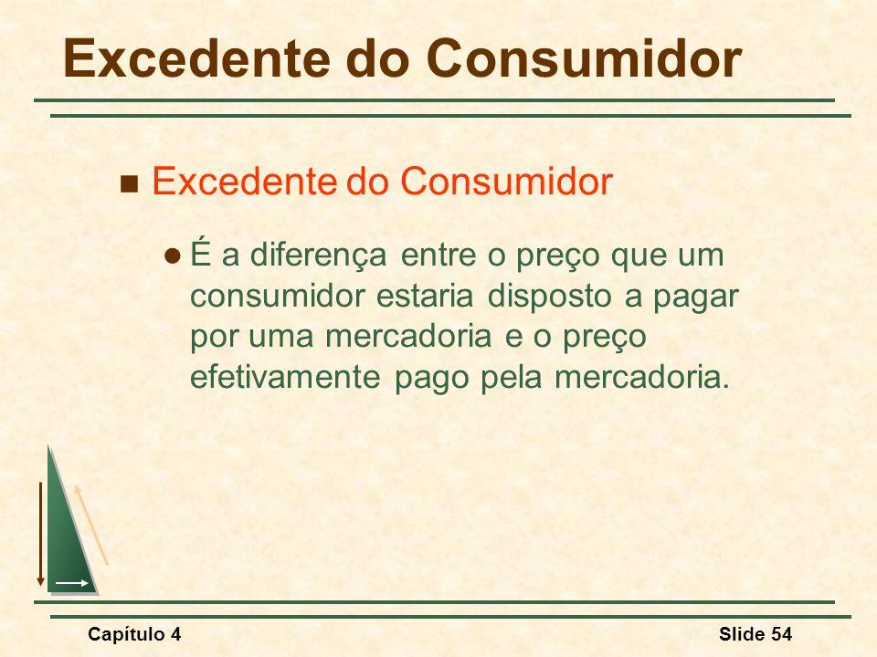 Capítulo 4Slide 54 Excedente do Consumidor É a diferença entre o preço que um consumidor estaria disposto a pagar por uma mercadoria e o preço efetivamente pago pela mercadoria.