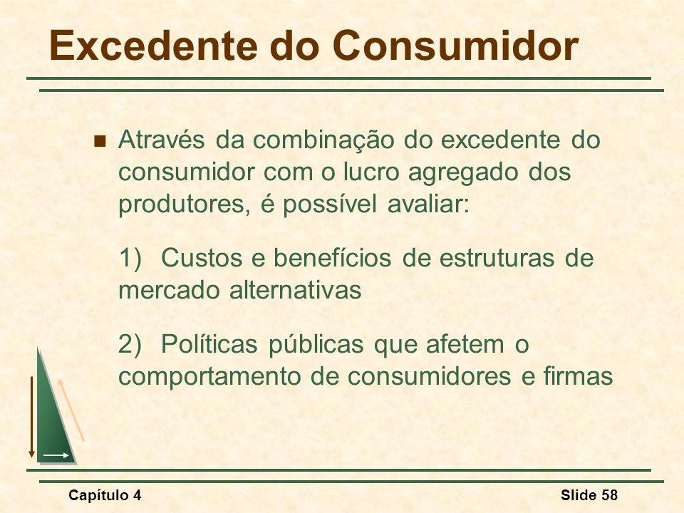 Capítulo 4Slide 58 Excedente do Consumidor Através da combinação do excedente do consumidor com o lucro agregado dos produtores, é possível avaliar: 1) Custos e benefícios de estruturas de mercado alternativas 2)Políticas públicas que afetem o comportamento de consumidores e firmas