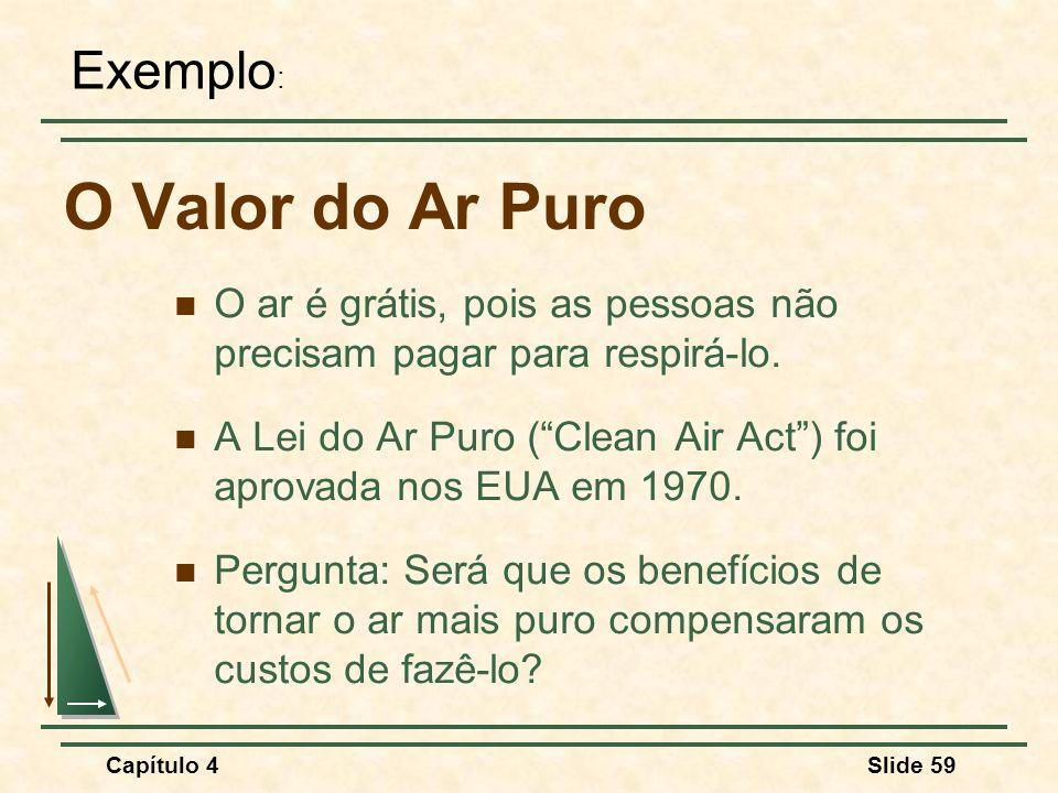 Capítulo 4Slide 59 O Valor do Ar Puro O ar é grátis, pois as pessoas não precisam pagar para respirá-lo. A Lei do Ar Puro (Clean Air Act) foi aprovada