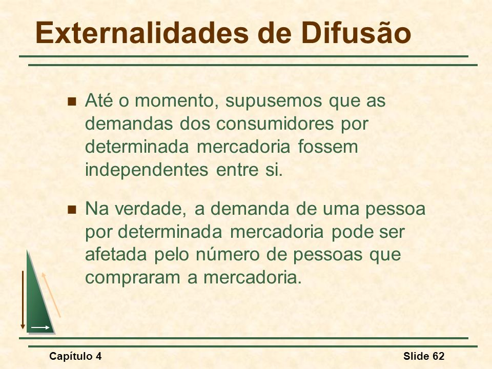 Capítulo 4Slide 62 Externalidades de Difusão Até o momento, supusemos que as demandas dos consumidores por determinada mercadoria fossem independentes