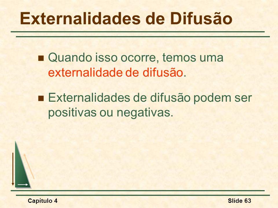 Capítulo 4Slide 63 Externalidades de Difusão Quando isso ocorre, temos uma externalidade de difusão. Externalidades de difusão podem ser positivas ou
