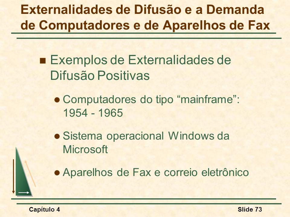 Capítulo 4Slide 73 Externalidades de Difusão e a Demanda de Computadores e de Aparelhos de Fax Exemplos de Externalidades de Difusão Positivas Computadores do tipo mainframe: 1954 - 1965 Sistema operacional Windows da Microsoft Aparelhos de Fax e correio eletrônico