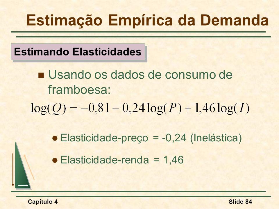 Capítulo 4Slide 84 Usando os dados de consumo de framboesa: Elasticidade-preço = -0,24 (Inelástica) Elasticidade-renda = 1,46 Estimação Empírica da De