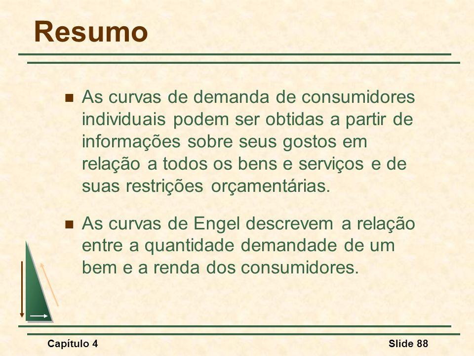 Capítulo 4Slide 88 Resumo As curvas de demanda de consumidores individuais podem ser obtidas a partir de informações sobre seus gostos em relação a to