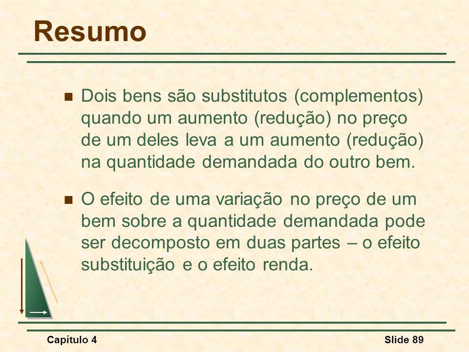 Capítulo 4Slide 89 Resumo Dois bens são substitutos (complementos) quando um aumento (redução) no preço de um deles leva a um aumento (redução) na qua
