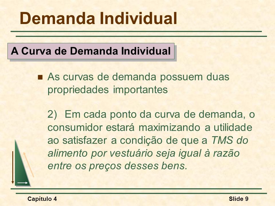 Capítulo 4Slide 40 Demanda de Mercado Dois pontos importantes 1)A demanda de mercado se deslocará para a direita à medida que aumenta o número de consumidores no mercado.