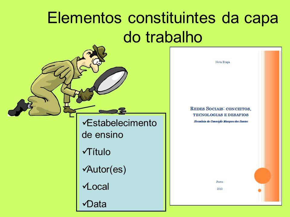 Quais são? Elementos constituintes de um trabalho Capa; Folha de rosto; Índice; Introdução; Desenvolvimento; Conclusão; Bibliografia; Anexos.