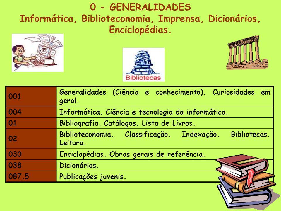 CDU – Classificação Decimal Universal com o código cromático adoptado na nossa escola 0GENERALIDADES Castanho 1FILOSOFIA e PSICOLOGIA Lilás 2RELIGIÃO