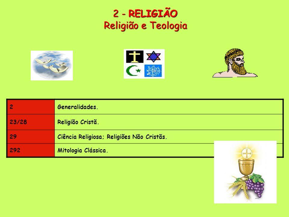 2 Generalidades.23/28Religião Cristã. 29Ciência Religiosa; Religiões Não Cristãs.