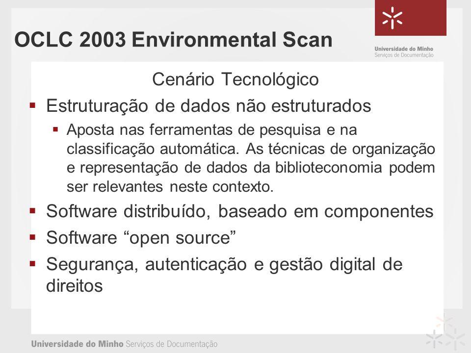 OCLC 2003 Environmental Scan Cenário Tecnológico Estruturação de dados não estruturados Aposta nas ferramentas de pesquisa e na classificação automática.