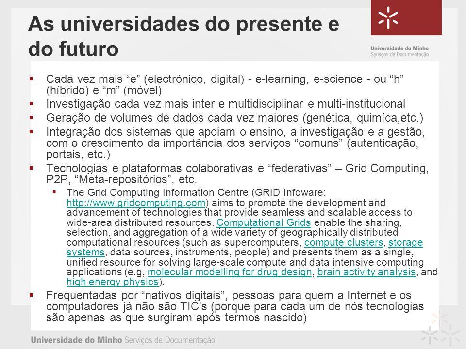 As universidades do presente e do futuro Cada vez mais e (electrónico, digital) - e-learning, e-science - ou h (híbrido) e m (móvel) Investigação cada vez mais inter e multidisciplinar e multi-institucional Geração de volumes de dados cada vez maiores (genética, quimíca,etc.) Integração dos sistemas que apoiam o ensino, a investigação e a gestão, com o crescimento da importância dos serviços comuns (autenticação, portais, etc.) Tecnologias e plataformas colaborativas e federativas – Grid Computing, P2P, Meta-repositórios, etc.