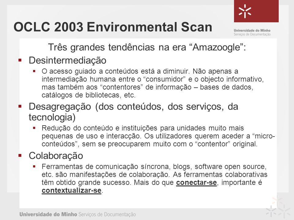 OCLC 2003 Environmental Scan Três grandes tendências na era Amazoogle: Desintermediação O acesso guiado a conteúdos está a diminuir.