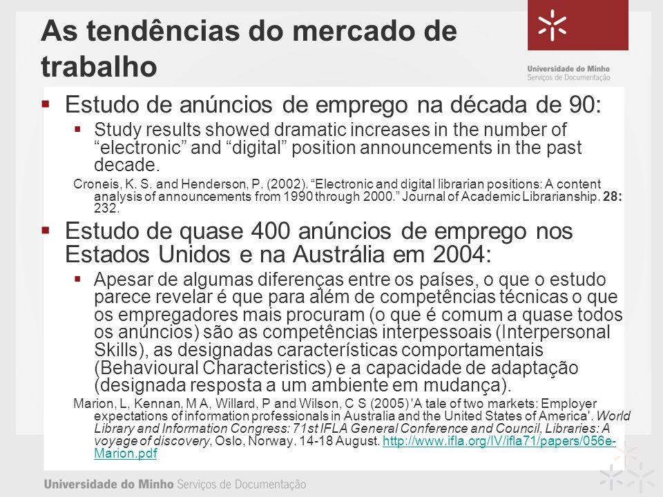As tendências do mercado de trabalho Estudo de anúncios de emprego na década de 90: Study results showed dramatic increases in the number of electronic and digital position announcements in the past decade.