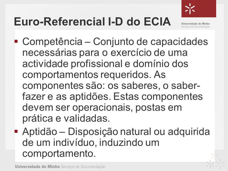 Euro-Referencial I-D do ECIA Competência – Conjunto de capacidades necessárias para o exercício de uma actividade profissional e domínio dos comportamentos requeridos.