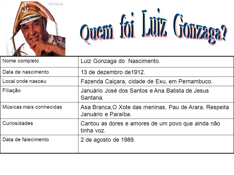 Nome completo Luiz Gonzaga do Nascimento. Data de nascimento 13 de dezembro de1912. Local onde nasceu Fazenda Caiçara, cidade de Exu, em Pernambuco. F