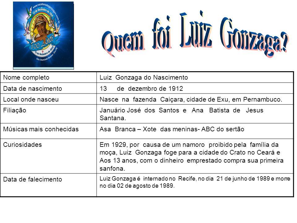 Nome completoLuiz Gonzaga do Nascimento Data de nascimento13de dezembro de 1912 Local onde nasceuNasce na fazenda Caiçara, cidade de Exu, em Pernambuc