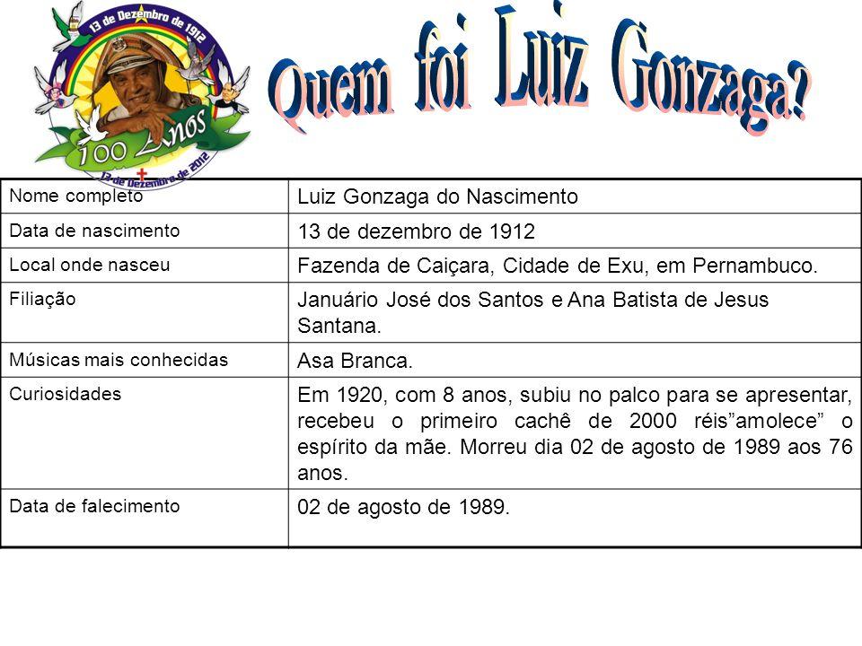 Nome completo Luiz Gonzaga do Nascimento Data de nascimento 13 de dezembro de 1912 Local onde nasceu Fazenda de Caiçara, Cidade de Exu, em Pernambuco.