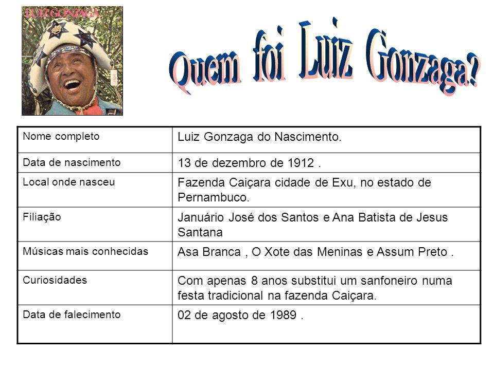 Nome completo Luiz Gonzaga do Nascimento. Data de nascimento 13 de dezembro de 1912. Local onde nasceu Fazenda Caiçara cidade de Exu, no estado de Per