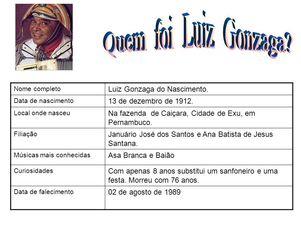 Nome completo Luiz Gonzaga do Nascimento. Data de nascimento 13 de dezembro de 1912. Local onde nasceu Na fazenda de Caiçara, Cidade de Exu, em Pernam