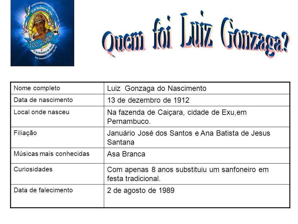 Nome completo Luiz Gonzaga do Nascimento Data de nascimento 13 de dezembro de 1912 Local onde nasceu Na fazenda de Caiçara, cidade de Exu,em Pernambuc