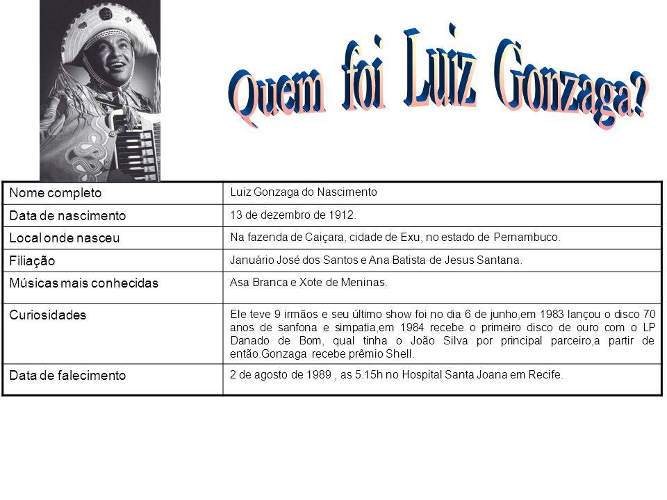 Nome completo Luiz Gonzaga do Nascimento Data de nascimento 13 de dezembro de 1912. Local onde nasceu Na fazenda de Caiçara, cidade de Exu, no estado