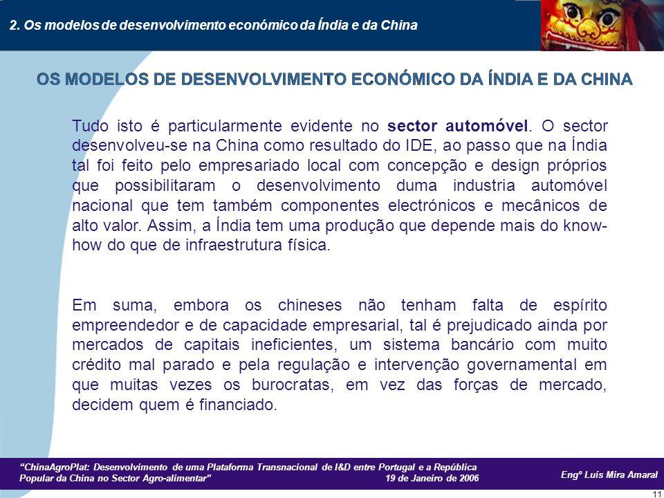 Engº Luís Mira Amaral ChinaAgroPlat: Desenvolvimento de uma Plataforma Transnacional de I&D entre Portugal e a República Popular da China no Sector Agro-alimentar 19 de Janeiro de 2006 11 Tudo isto é particularmente evidente no sector automóvel.