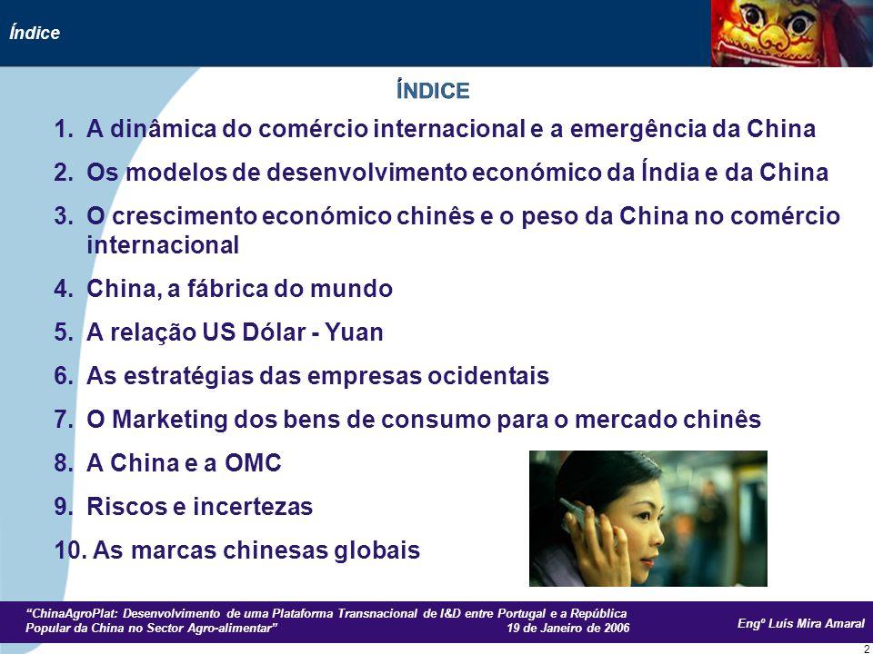 Engº Luís Mira Amaral ChinaAgroPlat: Desenvolvimento de uma Plataforma Transnacional de I&D entre Portugal e a República Popular da China no Sector Agro-alimentar 19 de Janeiro de 2006 73 26.