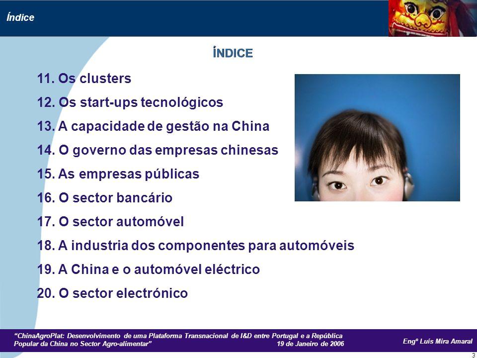 Engº Luís Mira Amaral ChinaAgroPlat: Desenvolvimento de uma Plataforma Transnacional de I&D entre Portugal e a República Popular da China no Sector Agro-alimentar 19 de Janeiro de 2006 14 A China é desde 2003 o 2º parceiro comercial da UE, a seguir aos EUA.
