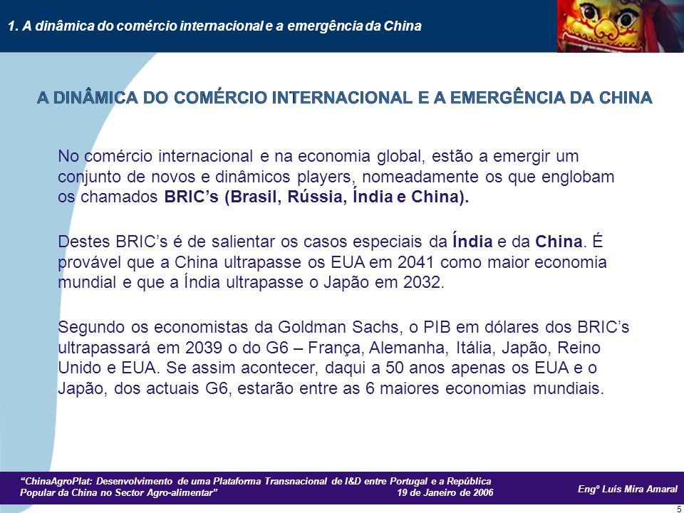 Engº Luís Mira Amaral ChinaAgroPlat: Desenvolvimento de uma Plataforma Transnacional de I&D entre Portugal e a República Popular da China no Sector Agro-alimentar 19 de Janeiro de 2006 6 Os BRICs que têm actualmente um PIB de cerca de 15% do PIB do G6, terão em 2025 uma produtividade que será 50% do G6 mas, em termos de rendimento per capita, mesmo daqui a 50 anos ele ainda será menor que o do actual G6.