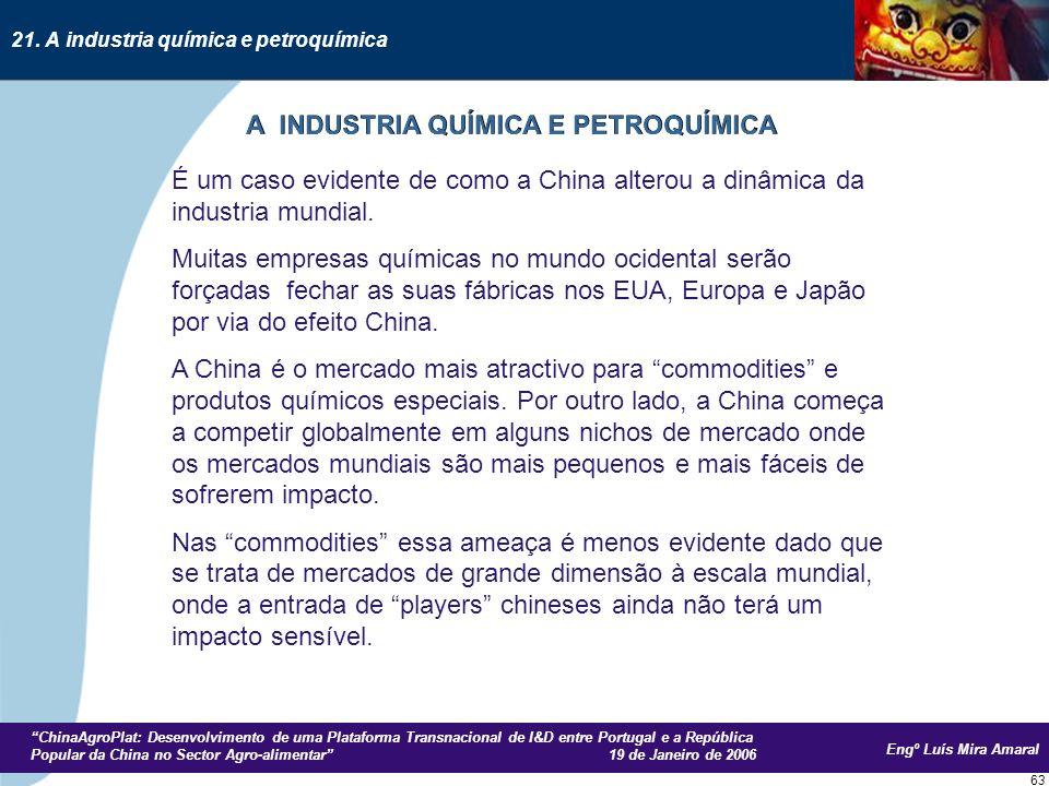 Engº Luís Mira Amaral ChinaAgroPlat: Desenvolvimento de uma Plataforma Transnacional de I&D entre Portugal e a República Popular da China no Sector Agro-alimentar 19 de Janeiro de 2006 63 É um caso evidente de como a China alterou a dinâmica da industria mundial.