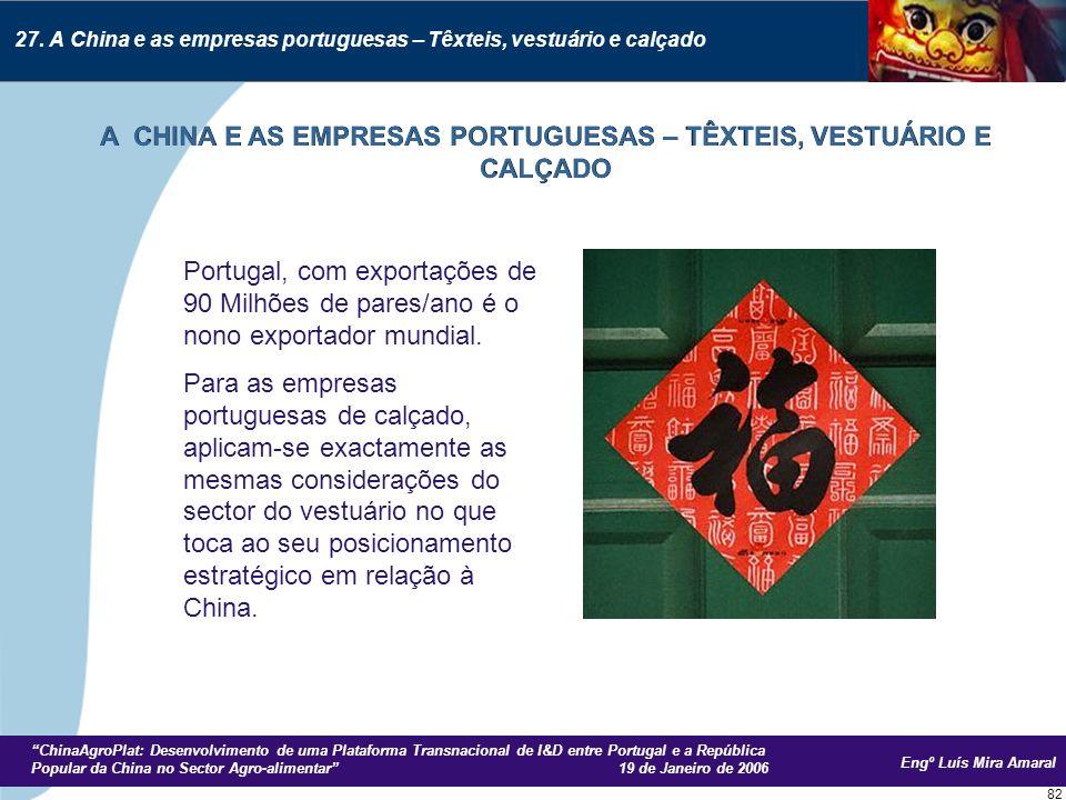 Engº Luís Mira Amaral ChinaAgroPlat: Desenvolvimento de uma Plataforma Transnacional de I&D entre Portugal e a República Popular da China no Sector Agro-alimentar 19 de Janeiro de 2006 82 Portugal, com exportações de 90 Milhões de pares/ano é o nono exportador mundial.