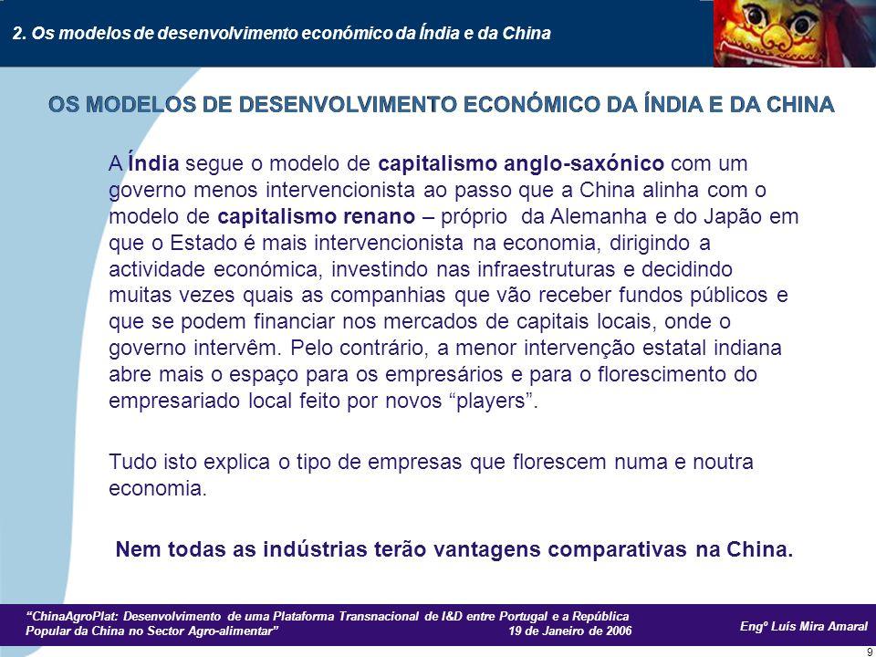 Engº Luís Mira Amaral ChinaAgroPlat: Desenvolvimento de uma Plataforma Transnacional de I&D entre Portugal e a República Popular da China no Sector Agro-alimentar 19 de Janeiro de 2006 20 O CRESCIMENTO ECONÓMICO CHINÊS E O PESO DA CHINA NO COMÉRCIO INTERNACIONAL Fonte: McKinsey Quarterly 2004, special edition: China today 3.