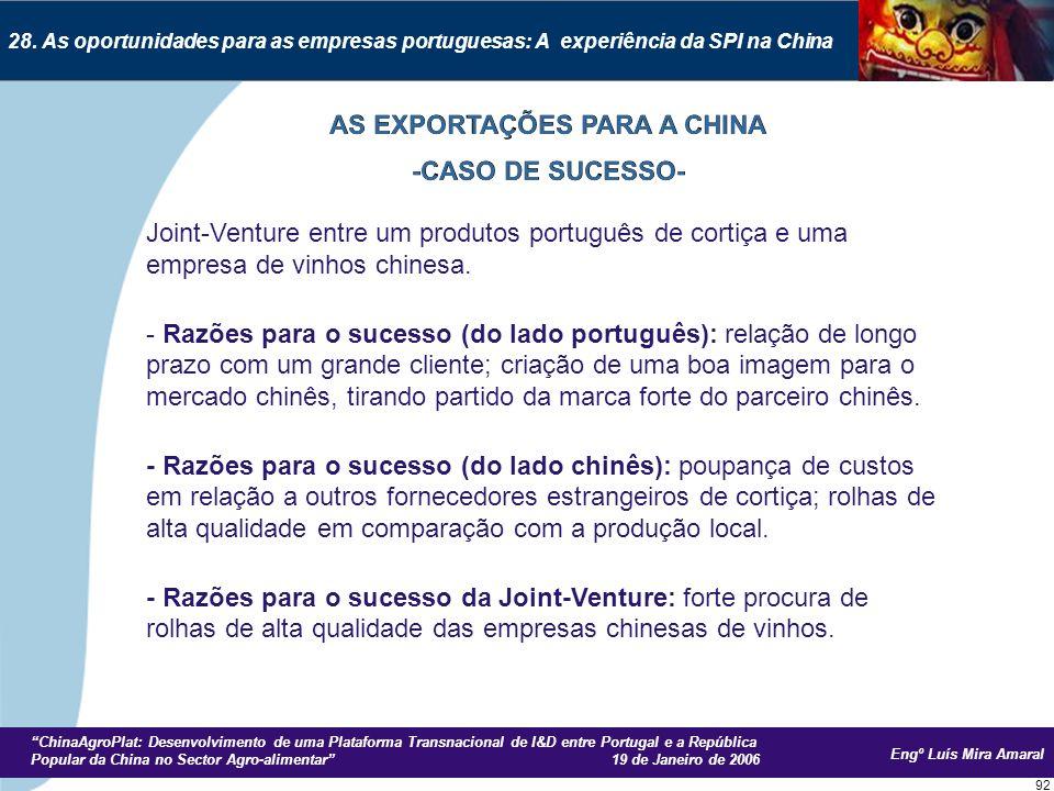 Engº Luís Mira Amaral ChinaAgroPlat: Desenvolvimento de uma Plataforma Transnacional de I&D entre Portugal e a República Popular da China no Sector Agro-alimentar 19 de Janeiro de 2006 92 28.