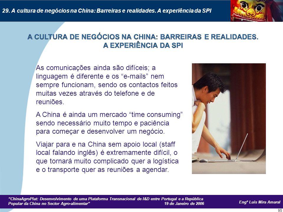 Engº Luís Mira Amaral ChinaAgroPlat: Desenvolvimento de uma Plataforma Transnacional de I&D entre Portugal e a República Popular da China no Sector Agro-alimentar 19 de Janeiro de 2006 95 29.