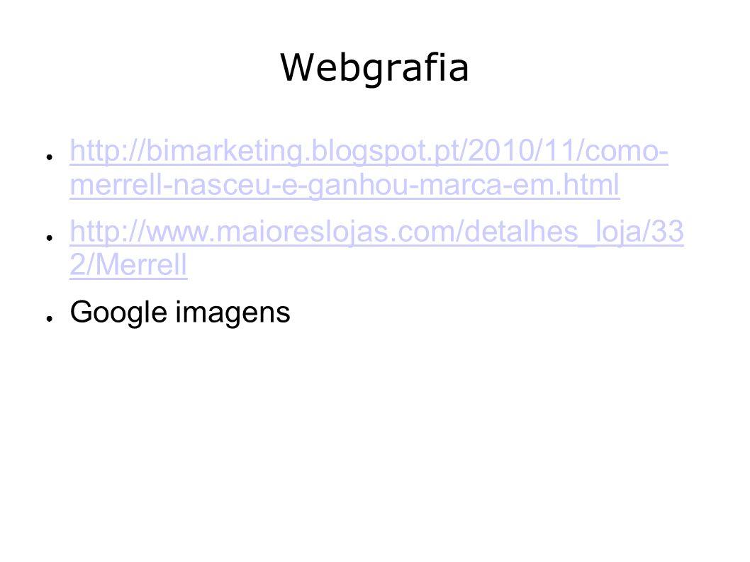 Webgrafia http://bimarketing.blogspot.pt/2010/11/como- merrell-nasceu-e-ganhou-marca-em.html http://bimarketing.blogspot.pt/2010/11/como- merrell-nasc
