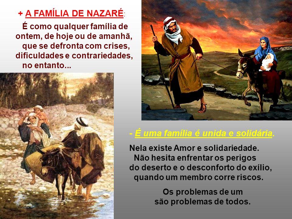 O Evangelho nos apresenta a FAMÍLIA SAGRADA, em três momentos da Infância de Jesus: Belém... Egito... Nazaré... (Mt 2,13-15.19-23) Nessas migrações, J