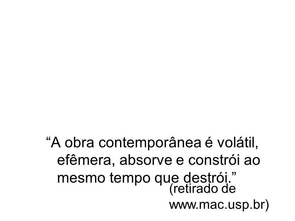 A obra contemporânea é volátil, efêmera, absorve e constrói ao mesmo tempo que destrói. (retirado de www.mac.usp.br)