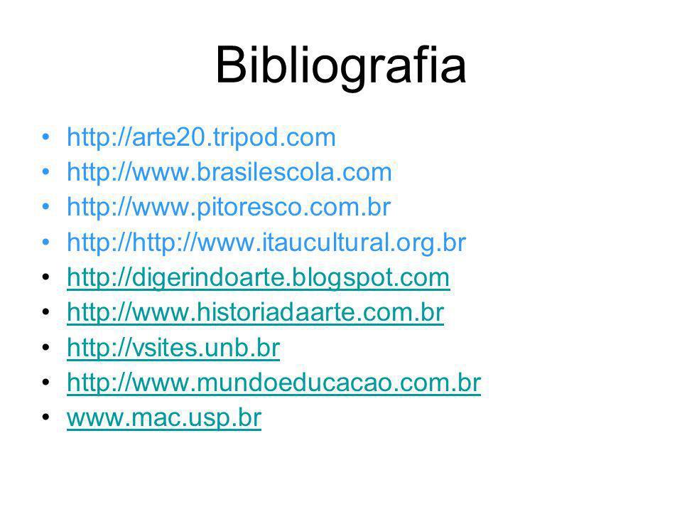 Bibliografia http://arte20.tripod.com http://www.brasilescola.com http://www.pitoresco.com.br http://http://www.itaucultural.org.br http://digerindoar