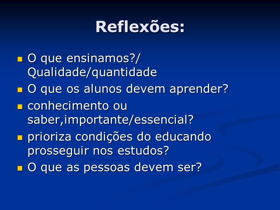 Reflexões: O que ensinamos?/ Qualidade/quantidade O que ensinamos?/ Qualidade/quantidade O que os alunos devem aprender? O que os alunos devem aprende