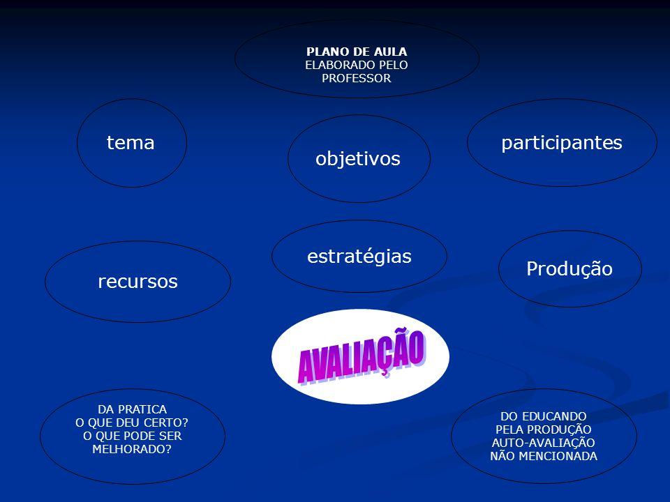 PLANO DE AULA ELABORADO PELO PROFESSOR objetivostema participantes recursos estratégias Produção DA PRATICA O QUE DEU CERTO? O QUE PODE SER MELHORADO?