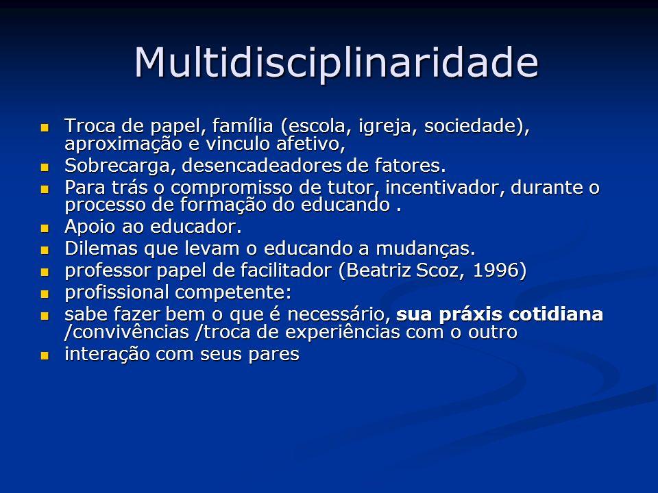 Multidisciplinaridade Multidisciplinaridade Troca de papel, família (escola, igreja, sociedade), aproximação e vinculo afetivo, Troca de papel, famíli